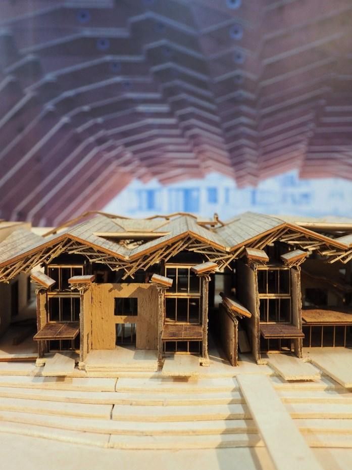 Maquette de la Maison d'hôtes Wa Shan - Une structure porteuse avec plusieurs milliers de tasseaux en bois