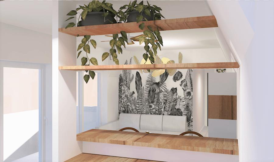 Projet Pirée - Vue sur le salon depuis la cuisine