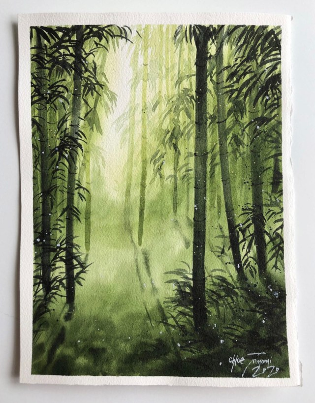 Watercolor of Bamboo Forest by Chloe Tomomi