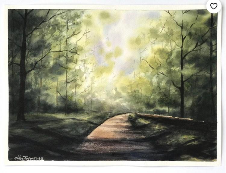 The Path watercolor artwork by Chloe Tomomi