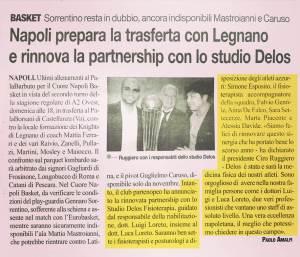 Articolo La gazzetta dello Sport Napoli Basket rinnova la partnership con lo Studio Delos fisioterapia