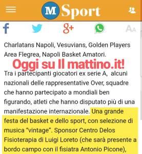 Articolo de Il Mattino Studio Delos fisioterapia alla festa del Basket Napoli