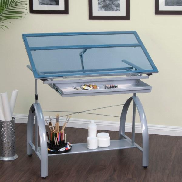Avanta Metal And Glass Height Adjustable Drafting Desk In