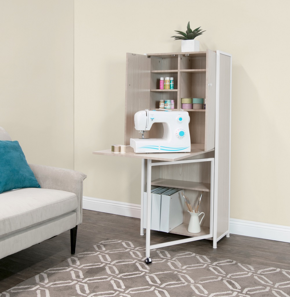 Craft Multi Room Storage Armoire With Table Top In White Birch Item 13375 Studio Designs