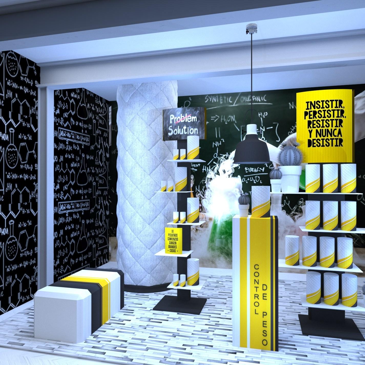 Mobiliario para escaparates de farmacias.