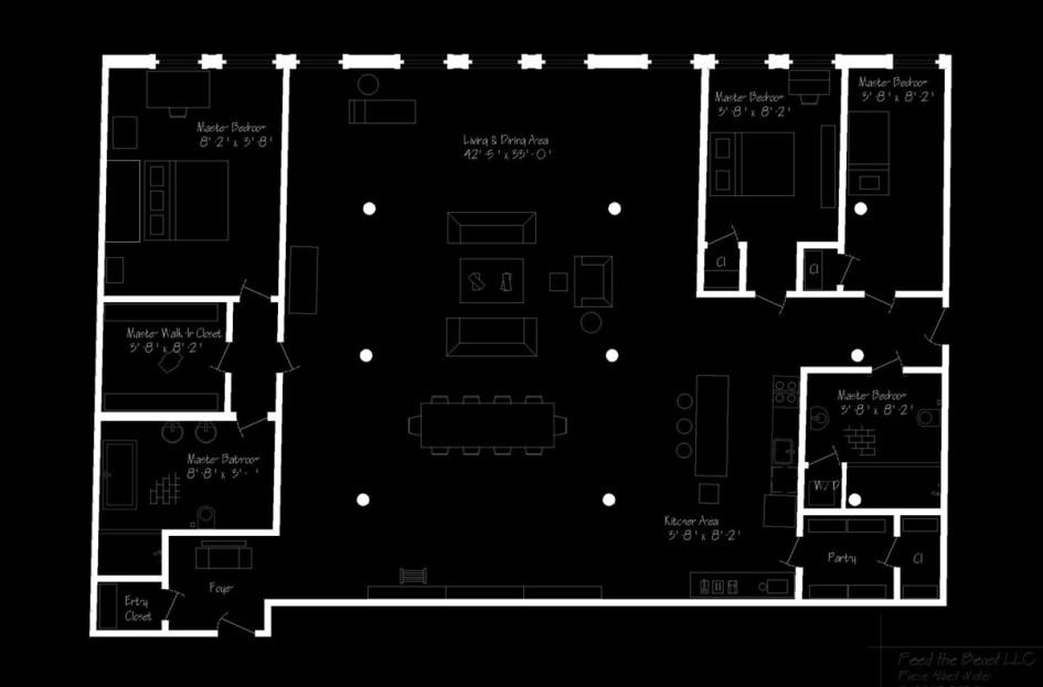 soho new york loft :: tripartite layout creates a 'church' from one's home ... minimalist design industrial loft