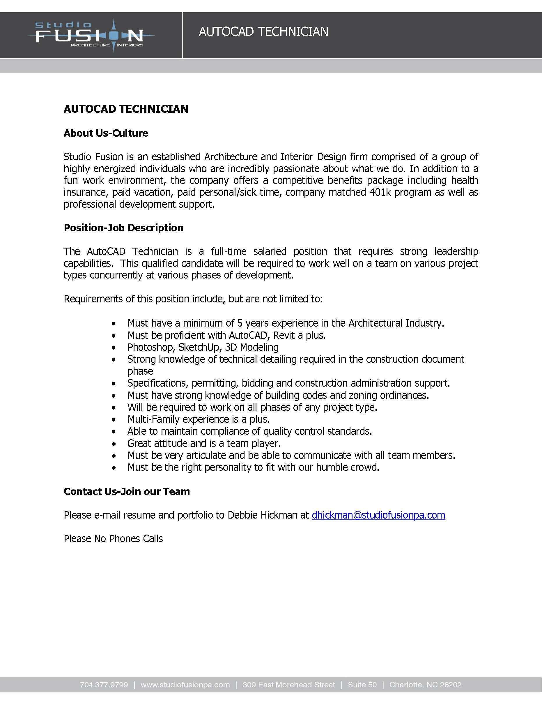 Job Description - Auto-Cad Technician