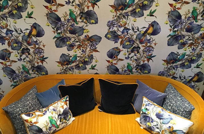 Wallpaper and cushions image courtesy of Studio Interiors