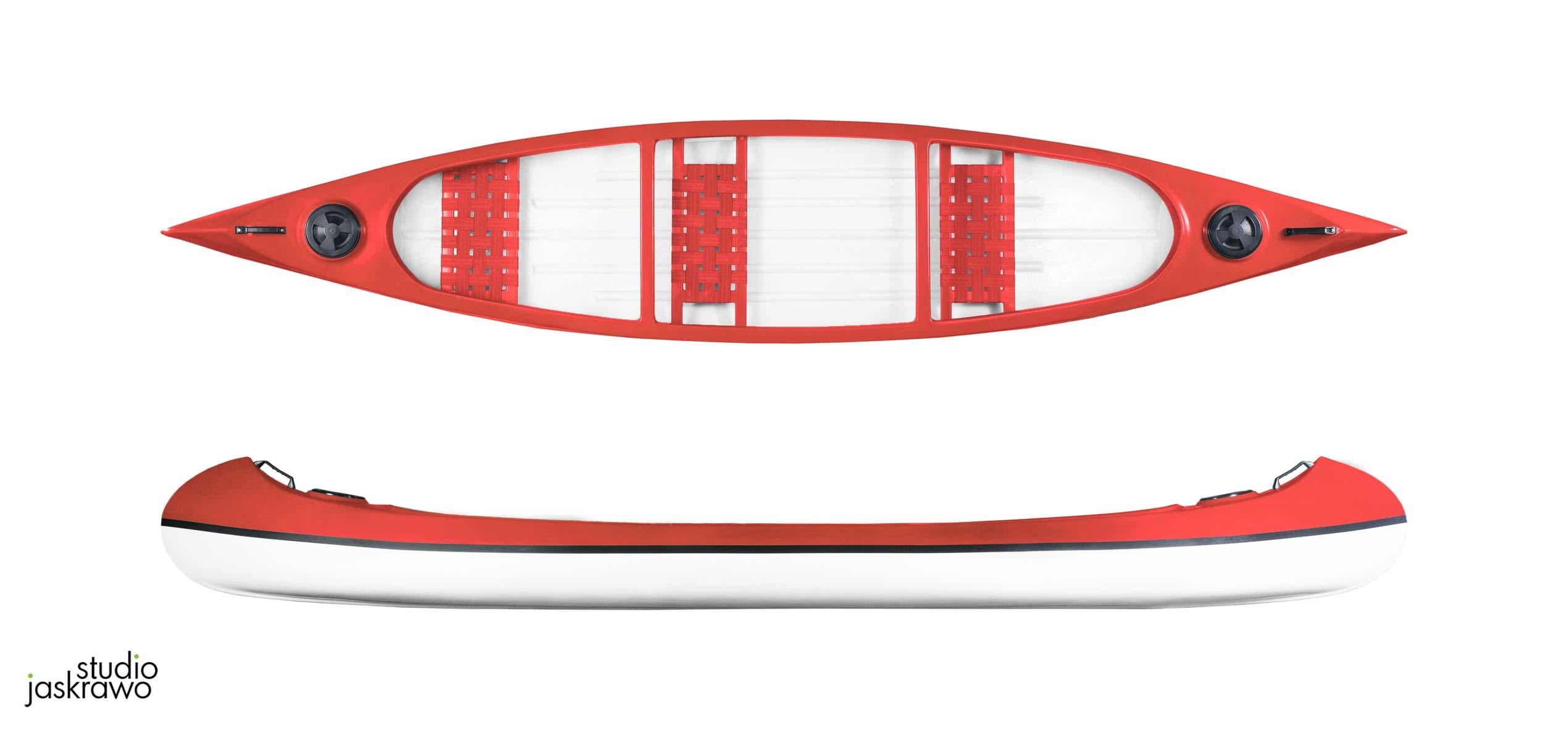 czerwony kajak widziany z boku i widziany z góry