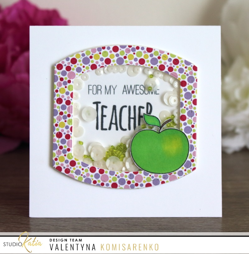I started with one idea – square card base, the image of cute apple from  the Teacher's Apple stamp set and Stitched Nested Creative Squares  die-cuts, ...