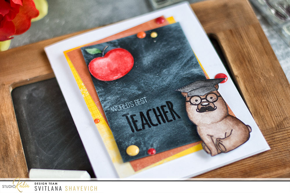 Teacher appreciation card. Stamps from Studio Katia. Card by @craftwalks