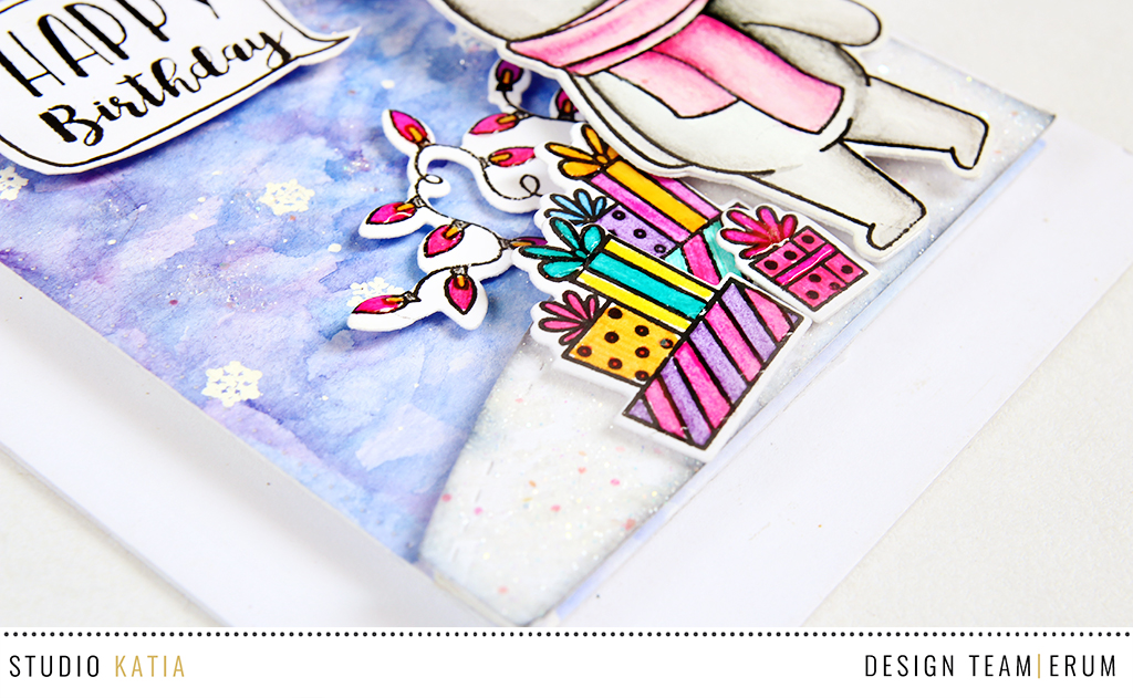 Studio Katia WInter Kobi Stamp Set | Watercolouring with Gansai Tambi watercolours | Erum Tasneem | @pr0digy0