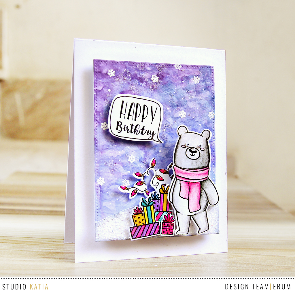 Studio Katia WInter Kobi Stamp Set | Watercolouring with distress inks. | Erum Tasneem | @pr0digy0