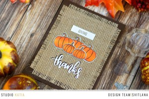 Giving Thanks Card with Studio Katia Stamps and Dies. Card by @craftwalks