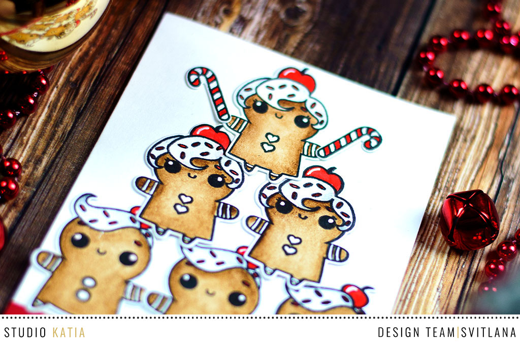 Cheerleading Ginger Cookies with Studio Katia Sweet Holiday. Card by @craftwalks
