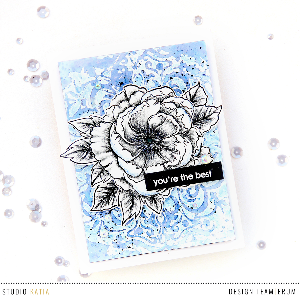 Studio Katiia Japanese Peony pecil shaded + Mandala Stencil background | Erum Tasneem | @pr0digy0