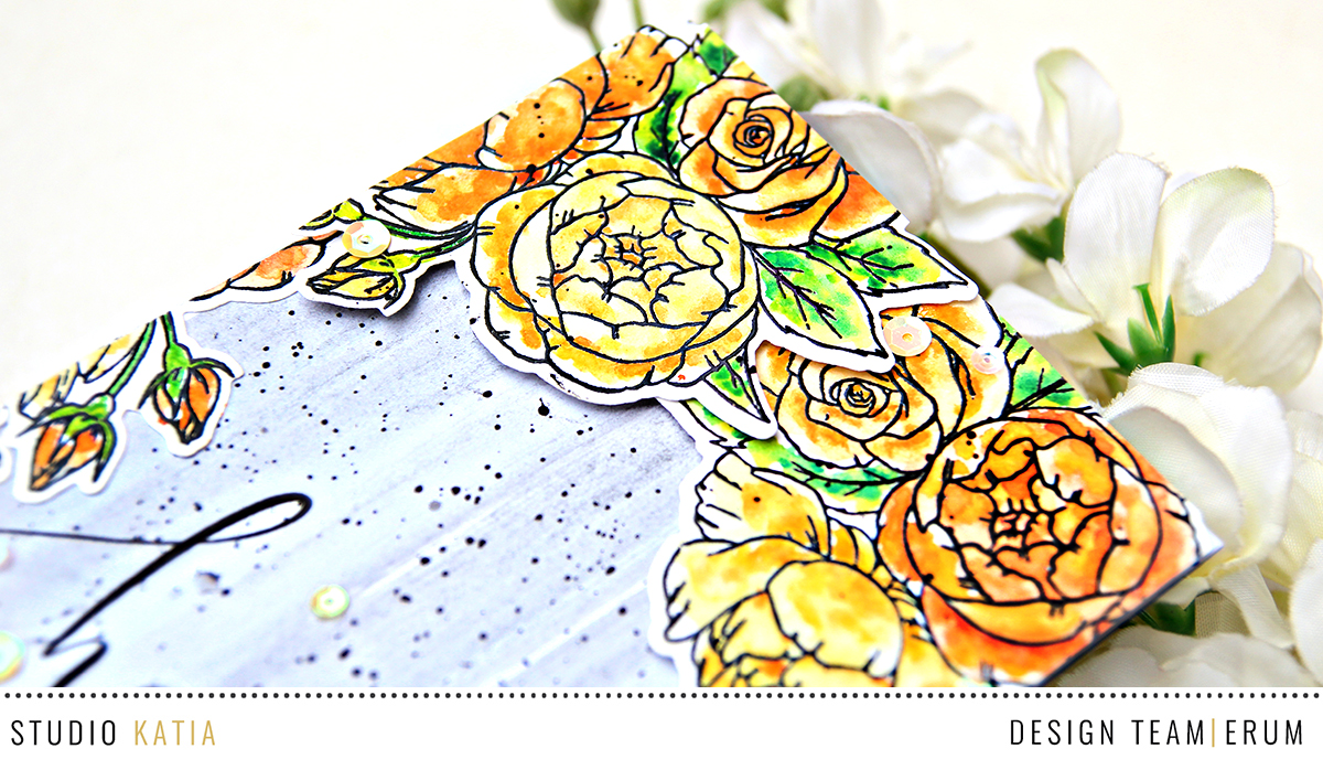 Studio Katia Spring Bouquet and Happy Stamp Set watercoloured by Erum Tasneem | @pr0digy0