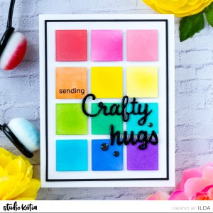 Color Swatch Crafty Friendship Card, Dotted Square Frame, Artsy Trimmings Dies, Lovely Words