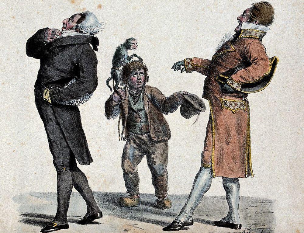 Beggar boy with rich gentlemen