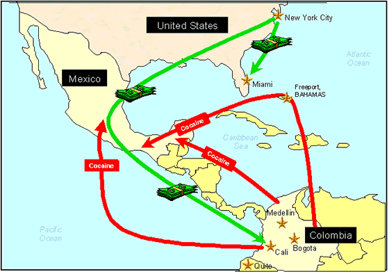 Pablo Escobar drug trade map