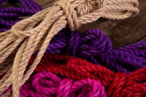 Purple, pink, red and natural 6mm Jute rope for Shibari / Kinbaku