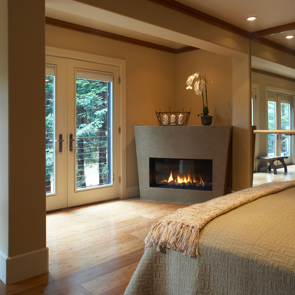 Fireplace in exercise/guest room