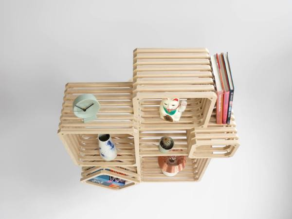 Front Parallel shelf 2016 studio lorier modular shelving top view