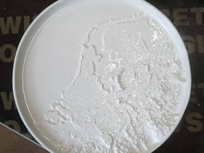 One of our new ideas, a height map of the Netherlands in a porcelain plate