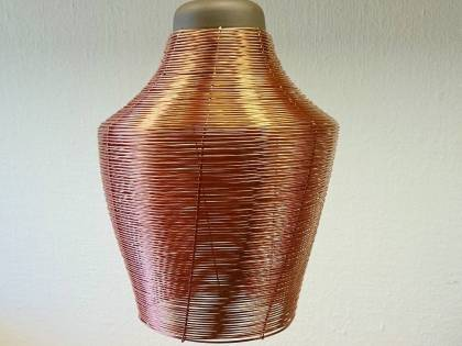 Recently we made four of these custom copper lamps with black top and wire-made