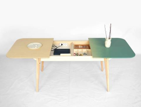 Slide the tabletop open for extra storage or extend the table