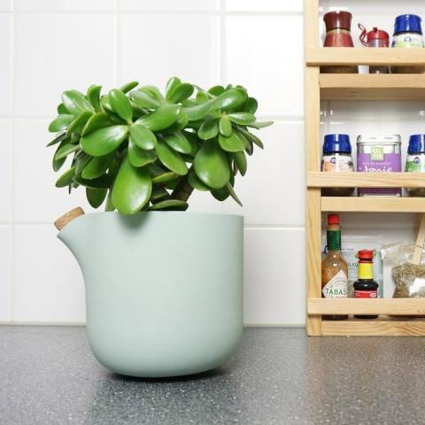 More than a year ago we launched the self watering flowerpot, the Natural Balance. It tips over when the plant needs water
