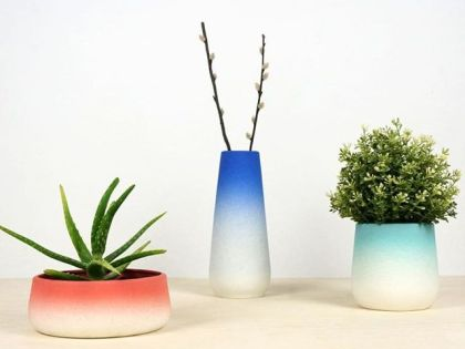 Flowerpots and vases with a gradient color. Available in 3 sizes.
