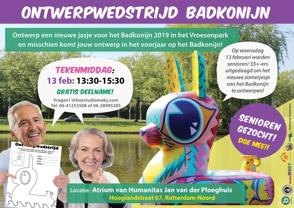 Drawing sessions for the new design of the Badkonijn 2019, Vroesenpark