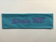 Sea Blue Headband Purple Logo Text
