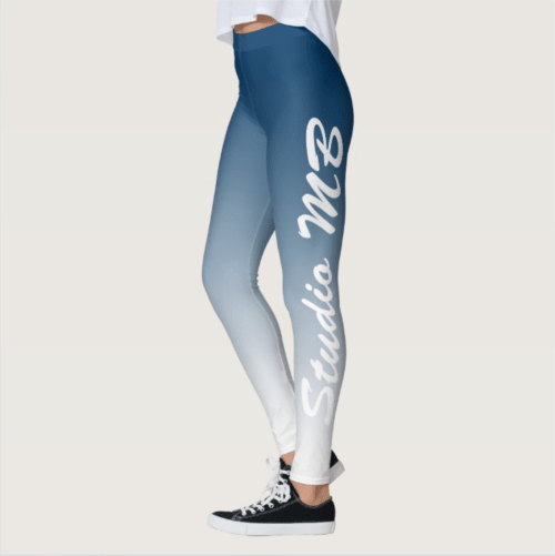 CyanBlue to White Ombre Studio MB leggings