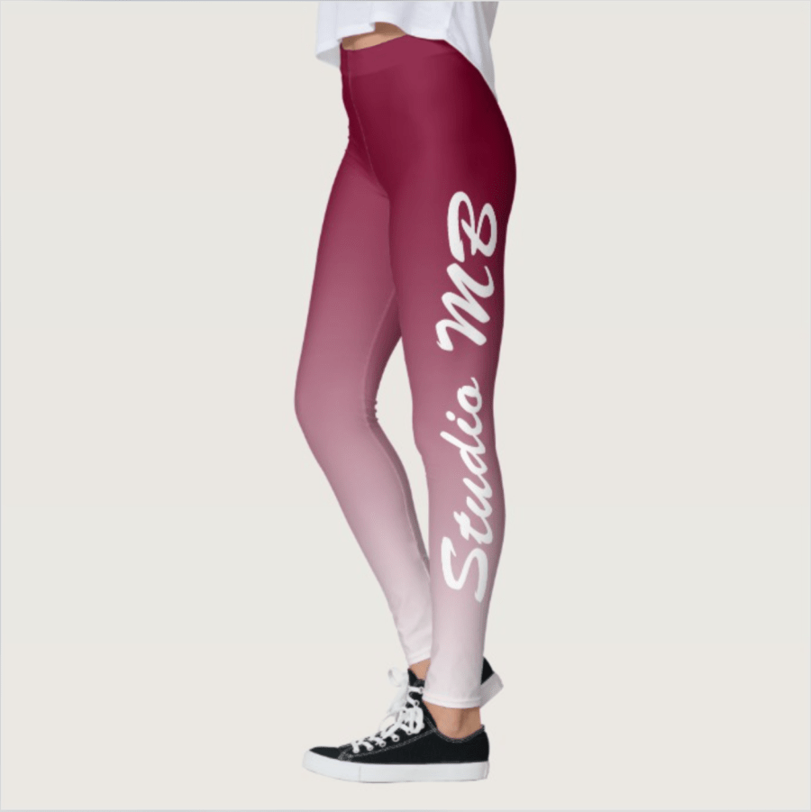 Studio MB Dark Magenta Red to White Ombre Leggings