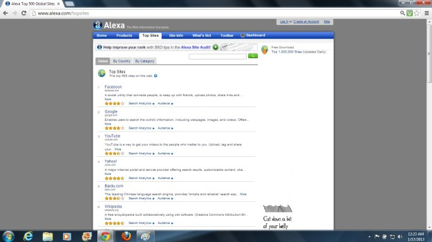 Alexa.com Top Sites screenshot