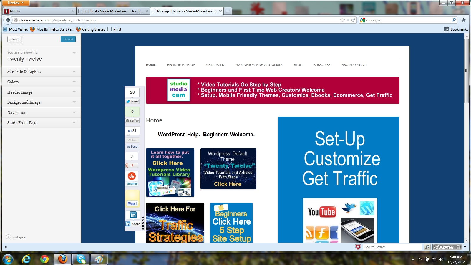 How to add social media to wordpress free tutorials customize tab opens to selections screencast baditri Choice Image