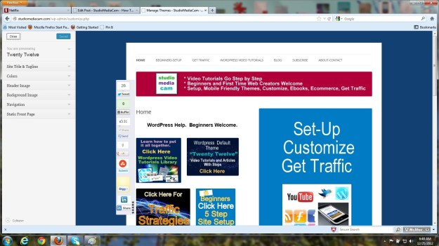 Customize Tab opens to selections screencast