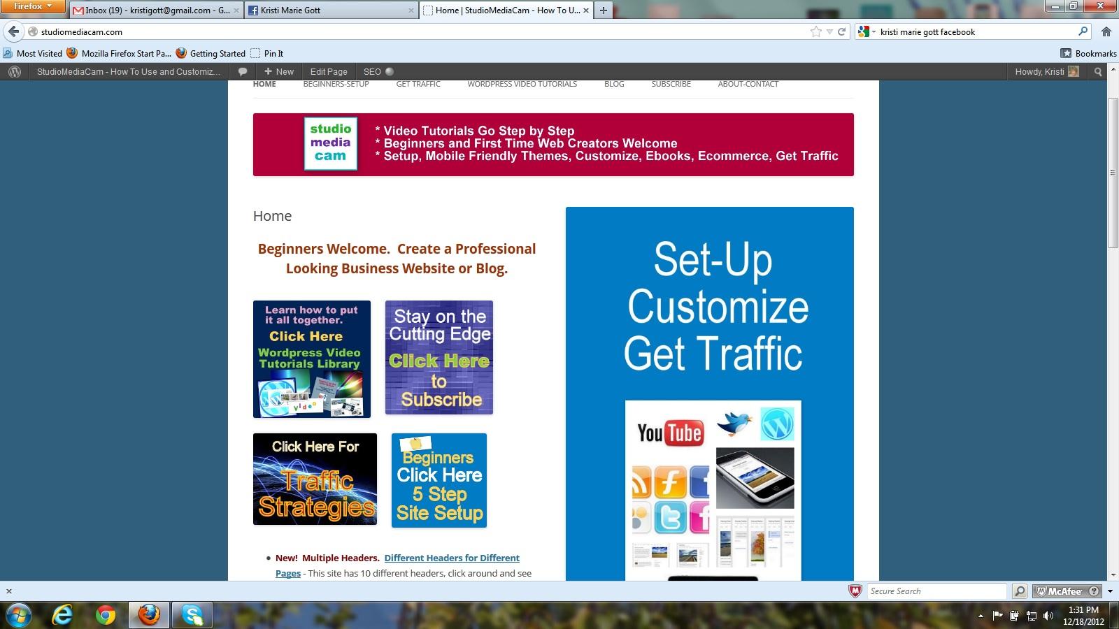 Custom Header With Logo and Text - Wordpress - Theme Twenty