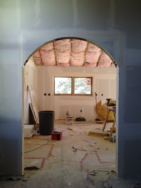 Office/Guest Bedroom looking towards kitchen. Translucent glass barn doors coming soon!