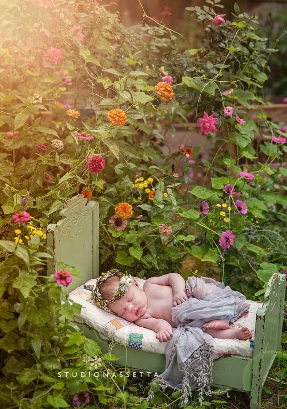 newborn in a garden