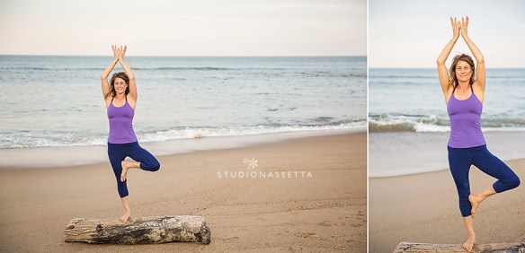 girl-by-the-ocean-yoga-on-log-outer-banks-nc