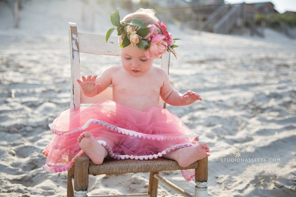 Outer Banks photographers 1st-birthday girl photos of baby in flower crown on beaches Duck-NC