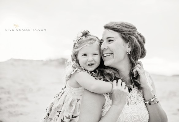 Black and White image of Mother Daughter in OBX