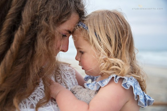 close up photo of mother and daughter in Nags Head NC