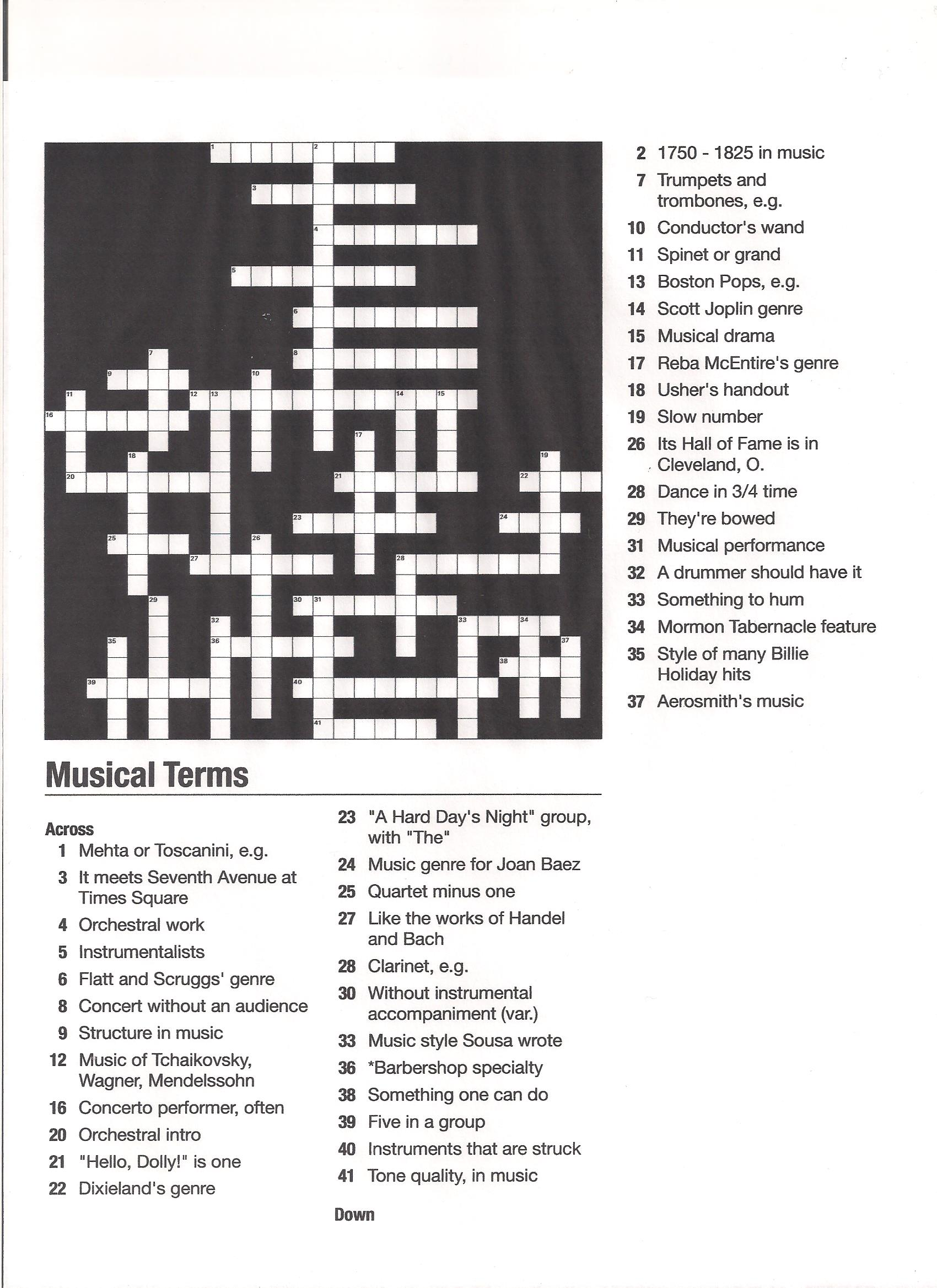 Musical Terms Crossword Puzzle
