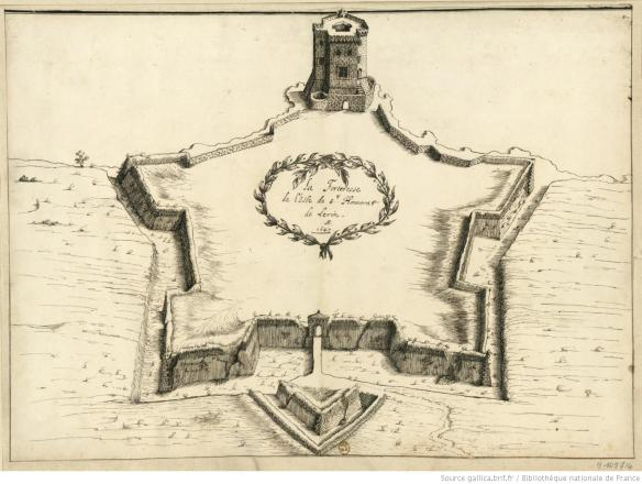 La Forteresse de l'Isle de S.t Honorat de Lerin. F. Blondel In. et fecit. Source Gallica