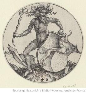 Homme sauvage portant un écu au lévrier. Schongauer, Martin (1450?-1491). Graveur