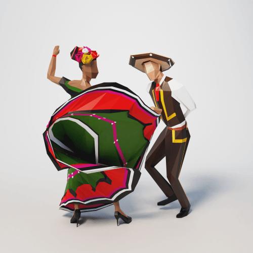 lowpoly people mexico mayo viva fiesta